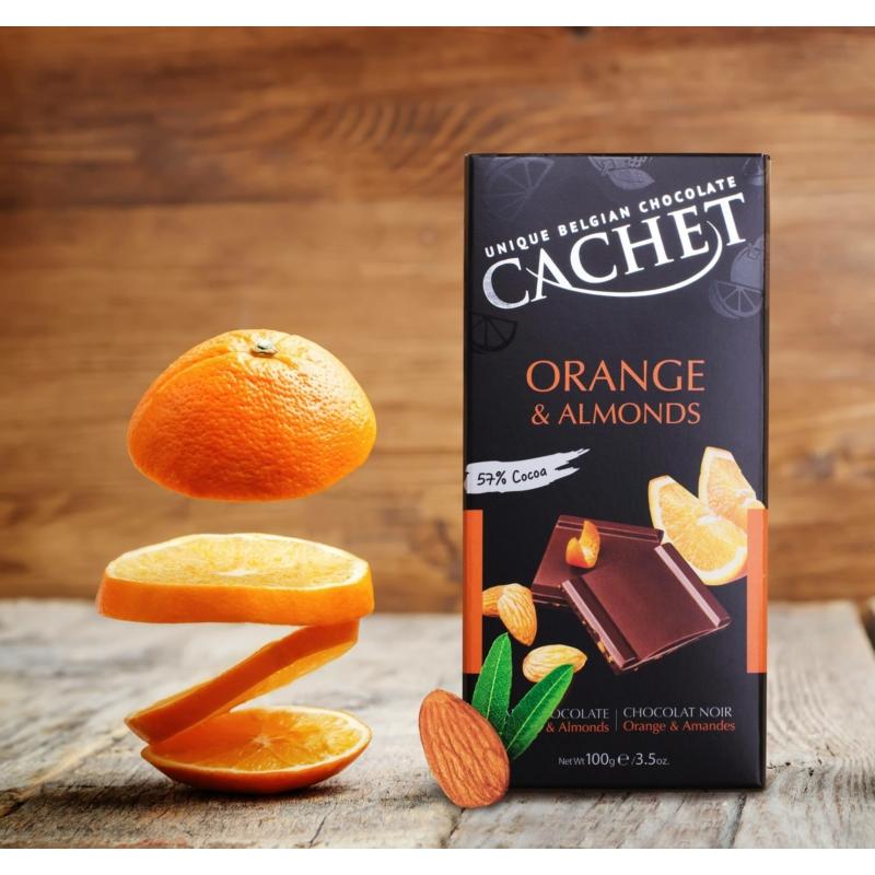 Cachet Ét tábla 57% narancs - mandula 100g