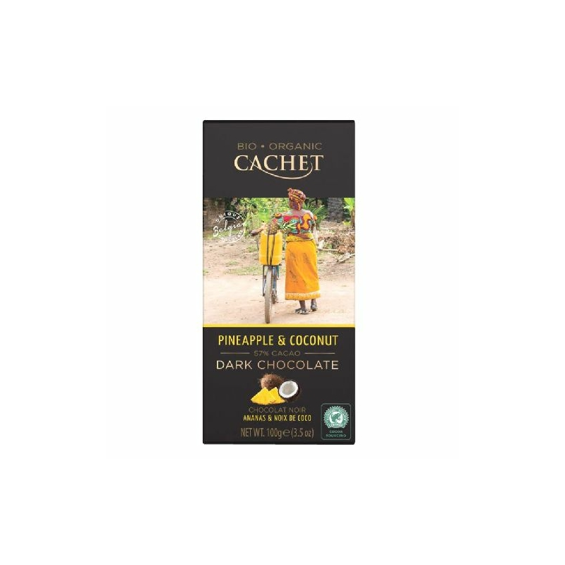 Cachet Ét tábla ananász-kókusz 57% organikus 100g