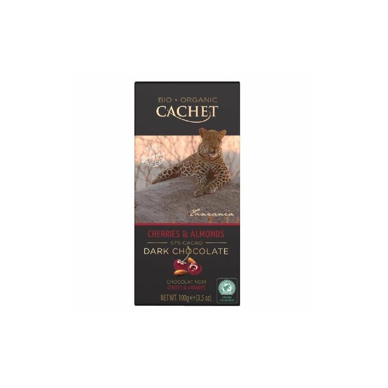 Cachet Ét tábla cseresznye-mandula 57% organikus 100g